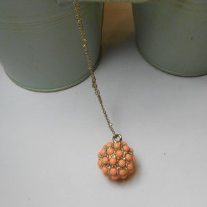 Ann Taylor Peach Gold Pendent Necklace